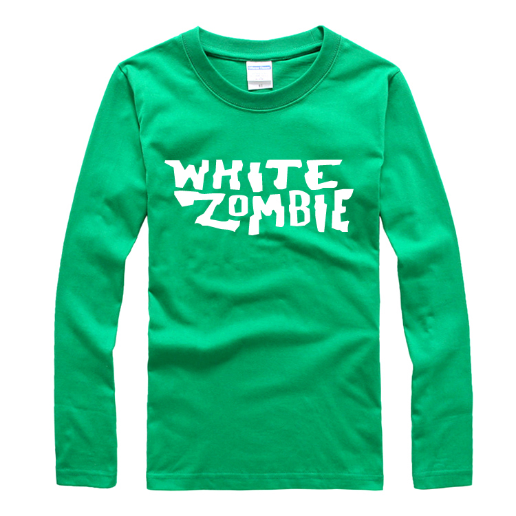 hot sell 2016 white zombie band personality art original lock long sleeve lovers t-shirt(China (Mainland))