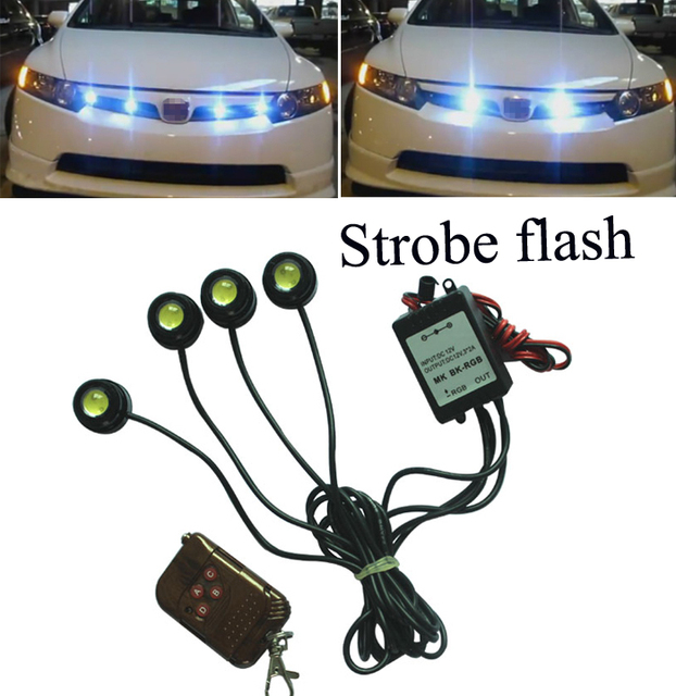 4*1.5W IP68 Strobe Flash Eagle Eye Light  Car DRL Led Daytime Running Light Led Auto Reversing Light