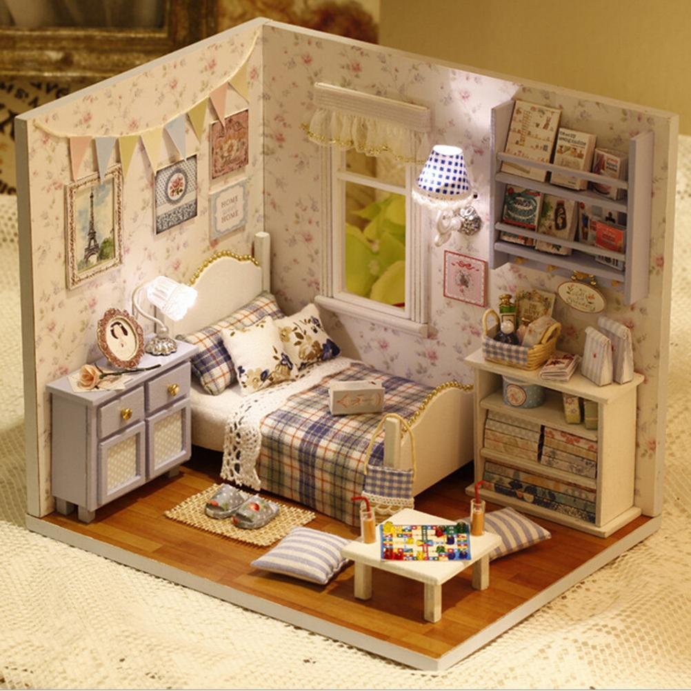 Wholesale handmade 3d miniature dollhouse wood educational for Crear muebles 3d