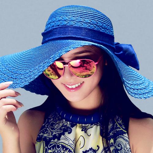 product Korean version of the new women's summer bow straw beach hat sun hat folding beach hat children spring