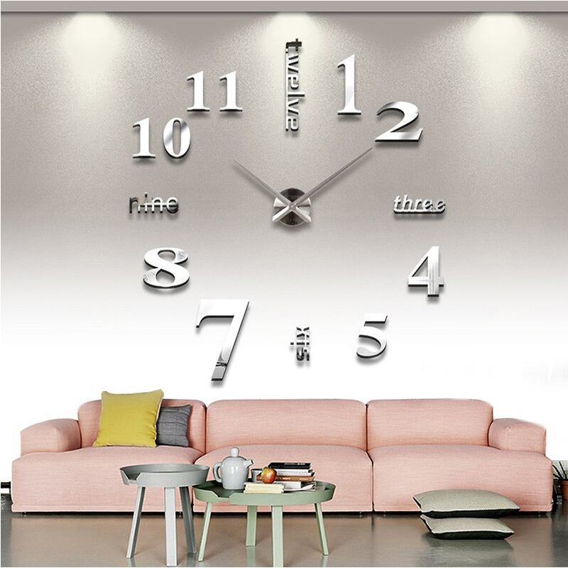 2015 new arrival Quartz clocks fashion watches 3d real big wall clock rushed mirror sticker diy living room decor free shipping(China (Mainland))