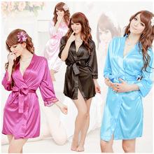 N17 Hot Sexy Lingerie Satin Black Kimono Intimate Sleepwear Robe Sexy Night Gown Bathrobes sleepwear evening dress housekeeper