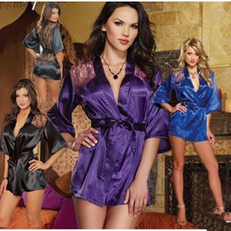 Sexy Women Satin Lace Lingerie Nightdress Robe Sleepwear Nightwear Fit Multi Size Summer Style Clothing Accessories(China (Mainland))