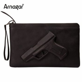 Unique women messenger bags 3D Print Gun Bag Designer Pistol Handbag Black Fashion Shoulder Bag Day Envelope Clutches With Strap