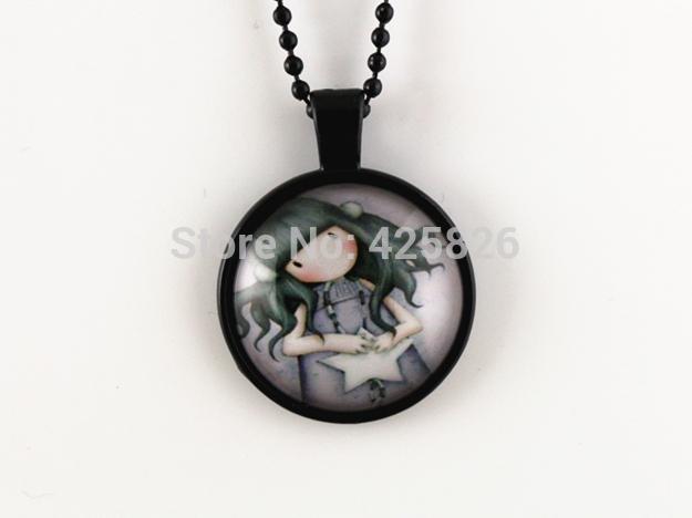 2pcs Cut Girl pendant necklace glass cabochon necklace Black necklace women necklace jewelry fashion HN 09