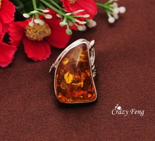 High Quality New Brand Design Simple Amber Stone Rings for Women/Men Fashion Wedding Ring Jewelry Accessories Free Shipping