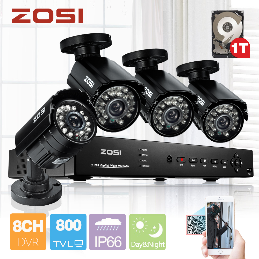 ZOSI 8CH 960H HDMI DVR Recorder 4PCS 800TVL Outdoor Weatherproof Home CCTV Security Camera System 8CH DVR Kits HDD 1TB(China (Mainland))