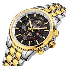 BUREI Men Watch Stainless Steel Sapphire Glass Quartz Waterproof Wristwatch Chronograph Analog Man Business Watch Relojes Hombre