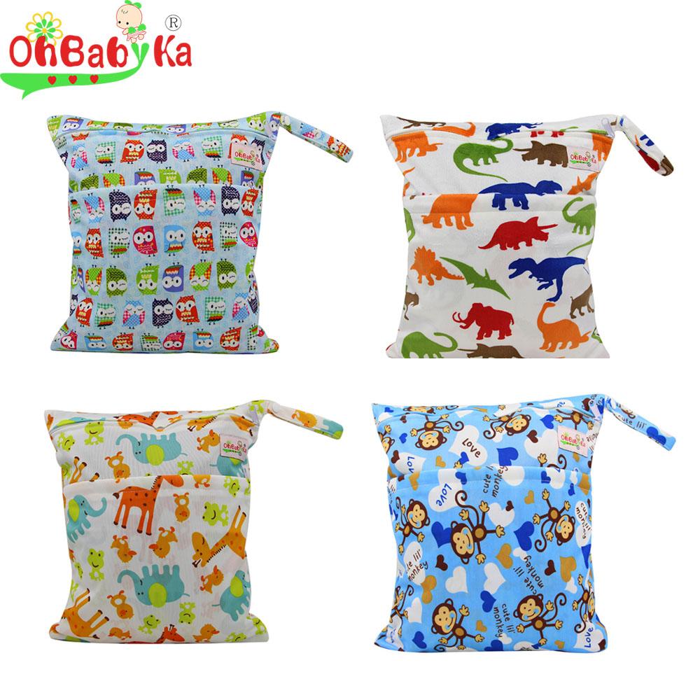 OhBabyKa Baby Diaper Bags Character Print Changing Wet Bag Baby Cloth Diapers Backpacks 30x40cm Brand Baby Swim Diaper Nappy Bag(China (Mainland))