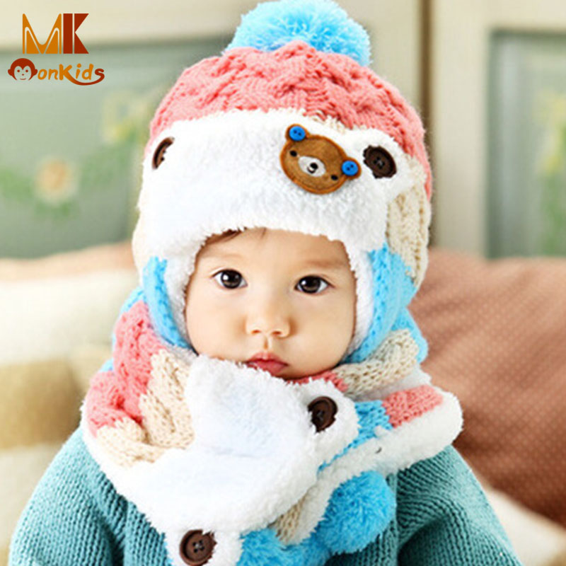 Monkids 2016 Winter Cap Cute Wool Scarves&Balaclavas Kids Hats Bear Decoration Hat Baby Photography Props Children's Hats(China (Mainland))