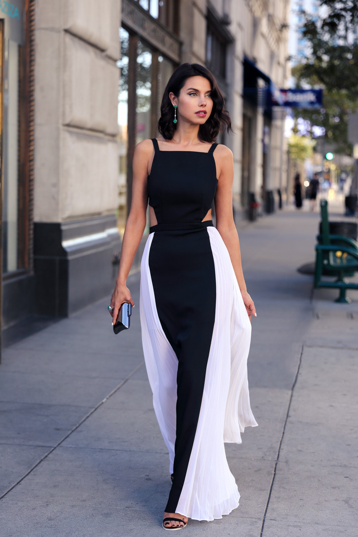Платье вечернее черно белое