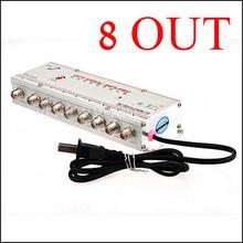 8 maneira ménages CATV Cable TV amplificateur de Signal Booster Splitter AC 220 V 50 Hz de Distribution livraison gratuite(China (Mainland))