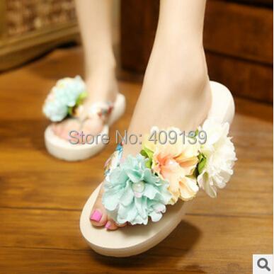 2015 shoes woman Bohemia Flower beach slipper slip-resistant sandals female flip flops women's platform - Minhar Import And Export Company store