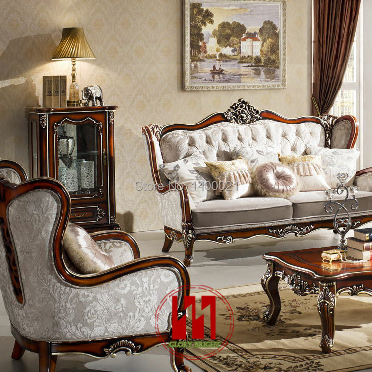 European Style Classic Wood Sofa Set Living Room Wooden Sofa Set Carving Woo