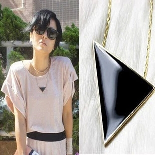 New Arrival Fashion Pendant Necklace Black Triangle Alloy Gold Plated Silver Long Chian Geometric Necklace LS53(China (Mainland))