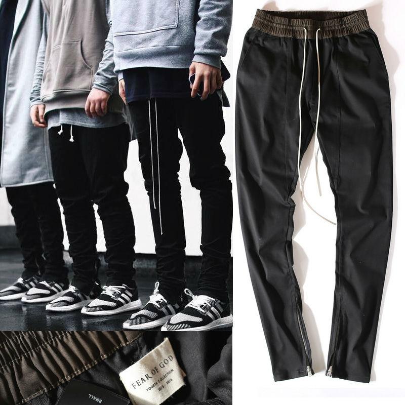 New Chinos Joggers Korean Mens European Urban Clothing Black Kanye West Justin Bieber Harem Dress Zipper Track Pants Fear Of God(China (Mainland))