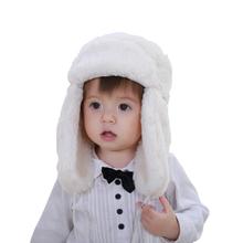 Retail baby & kids boys girls fashion cream white faux fur bomber hats children new 2016 winter warm snow casual earflap hats(China (Mainland))