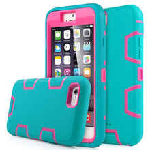 """ULAK 3 in 1 Heavy Duty Hybrid Rubber Shockproof Protective Case Cover Hybrid Silicone + Hard PC for iPhone 6 4.7""""(China (Mainland))"""