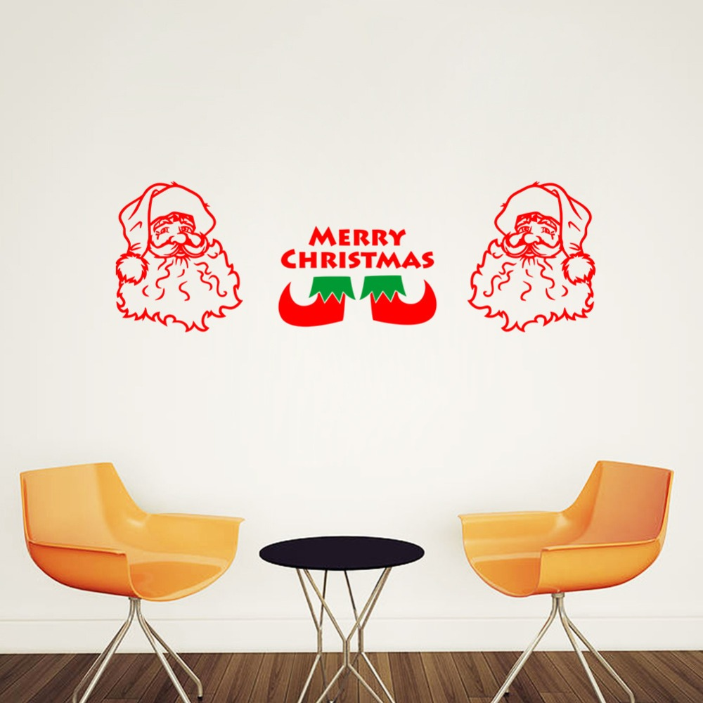 Cheap Price 2 Piece/Set Santa Claus Head Wall Sticker Merry Christmas English Vinilos Paredes Removable Wall Decal For Kids Room(China (Mainland))