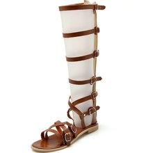 2016 Women Sandals Summer Flats Sexy Knee High boots gladiator Sandals women Casual flats Shoes designer big size 34-43