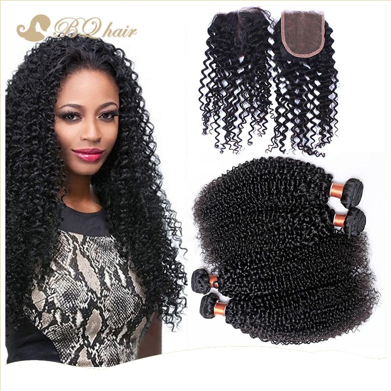 7A Brazilian kinky curly 4 Bundles with closure cheap brazilian hair extension unprocessed brazilian virgin hair weaves<br><br>Aliexpress