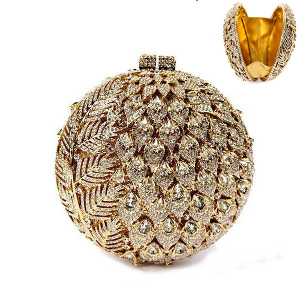Luxury ladies clutch banquet bags ball shape crystal women evening bag alloy sparkly dinner bag formal feminina Gold purse SC036(China (Mainland))