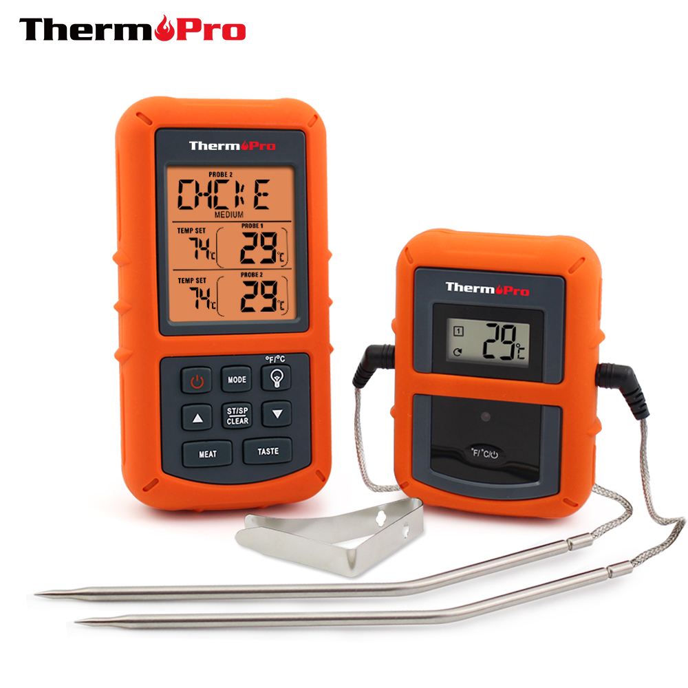 ThermoPro TP-20 Remote Wireless Digital BBQ, Oven, Meat Thermometer Home Use Stainless Steel Probe Large Screen with Timer(China (Mainland))