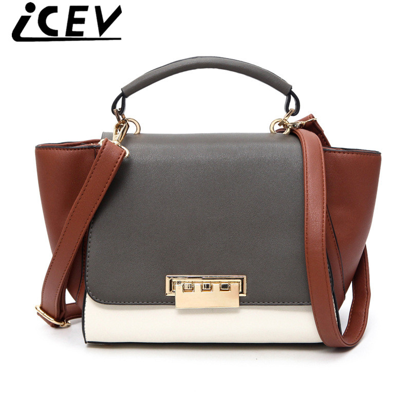 ICEV 2017 Trapeze Bag Famous Brand Design Handbags Women Leather Shoulder Bags Cover Big Ears Smiley Swing Bag Patchwork bolsas(China (Mainland))