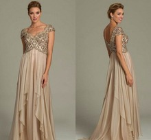 2015 Long Mother of The Bride Dresses Champagne Gold Crystal Beads Formal Dress Evening Gowns Backless For Wedding(China (Mainland))
