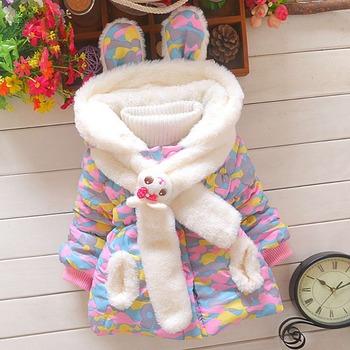 Зима теплая Gilrs детские младенческой утолщаются камуфляж шарф с капюшоном плюс бархат кардиган снег износ пальто куртки парки верхней одежды S2256
