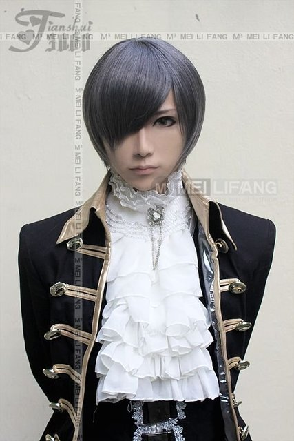 Black Butler Kuroshitsuji Ciel Short Anime costumes party hair Cosplay Wig+Free wig cap
