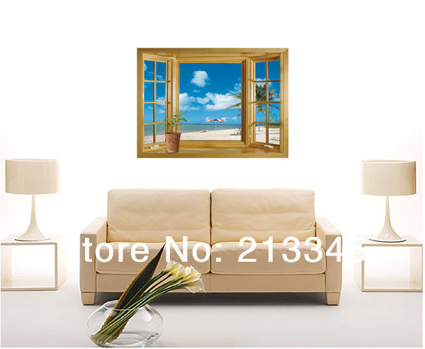 Saturday monopoly removable 3d wall stickers window sea for Room decor 3d