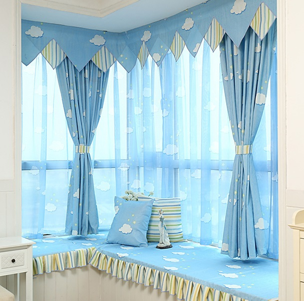 Blue sky clouds curtain bedroom living room study children for Sky blue curtains for bedroom