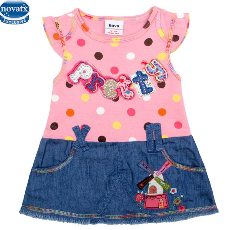 novatx H2338 summer baby girl dress nova kids children clothing dress cowboy short sleeve dress cheap sale dresses girls clothes(China (Mainland))