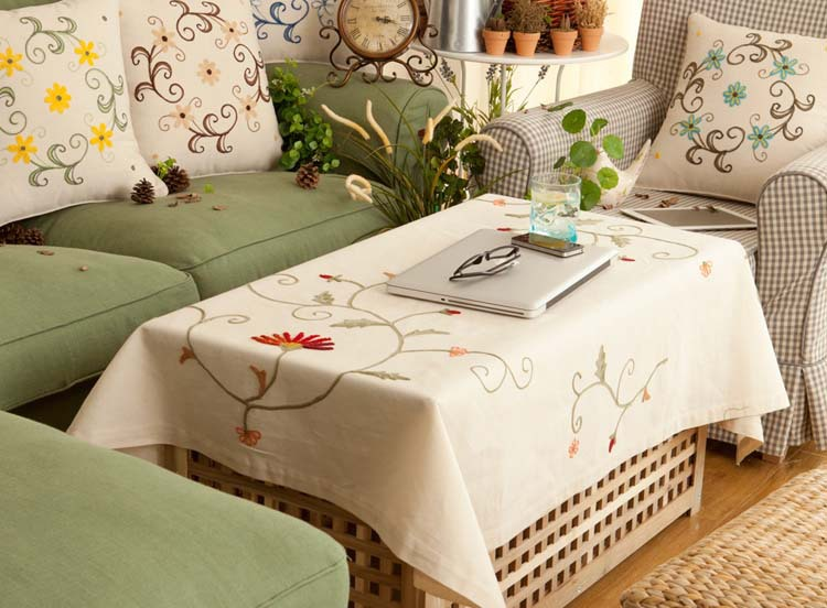 Free Shipping 160*110cm Round Embroidery Table Cloth Overlays Cotton Linen Jacquard TableCloth Weddings Country Style(China (Mainland))