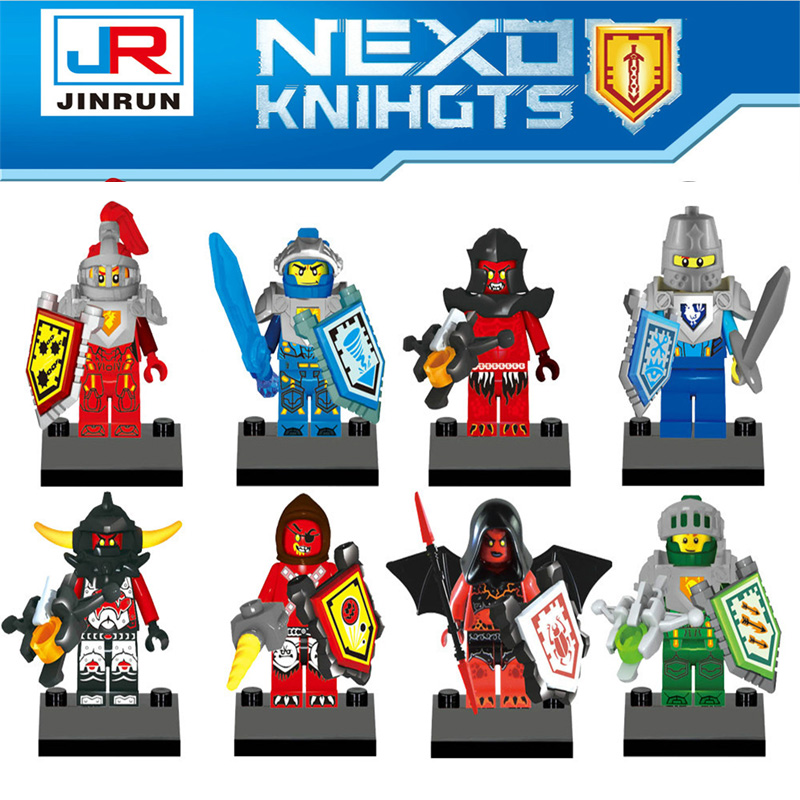JR807 8pcs Nexo Knights Figure Castle Warrior Clay Macy Lance Balrog Minifigures Building Blocks toys for children Toy Gifts(China (Mainland))