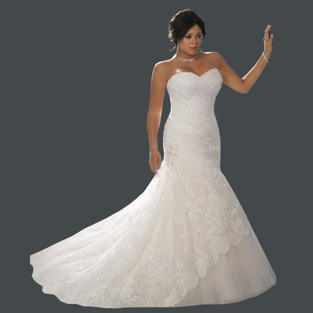 Top Online Mermaid Sweetheart Sleeveless Strapless Lace Plus Size Wedding Dress 2013(China (Mainland))