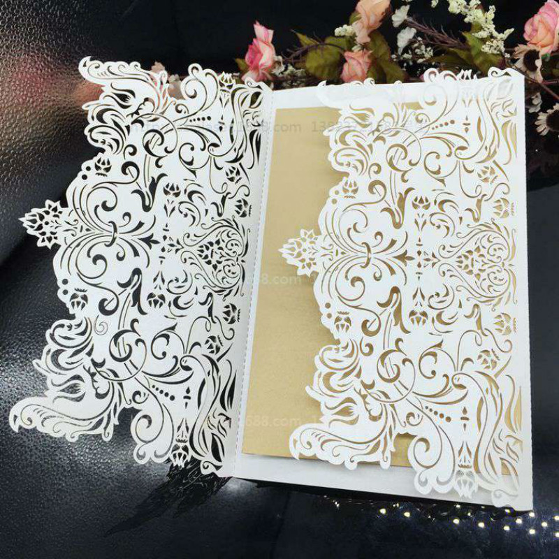 Wedding Supplies Laser Cut Wedding Business Party Birthday Invitations with Inside pages 30Pcs Lot Free Shipping