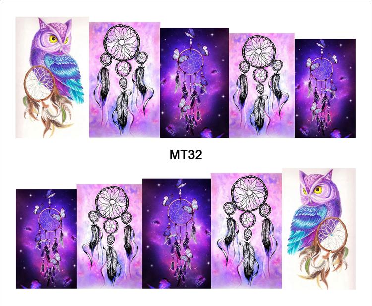 1 Sheet Nail MT32 Full Cover Dream Catcher Owl POP Nail Art Water Transfer Sticker Decal For Nail Art Tattoo DIY Nail Tool(China (Mainland))