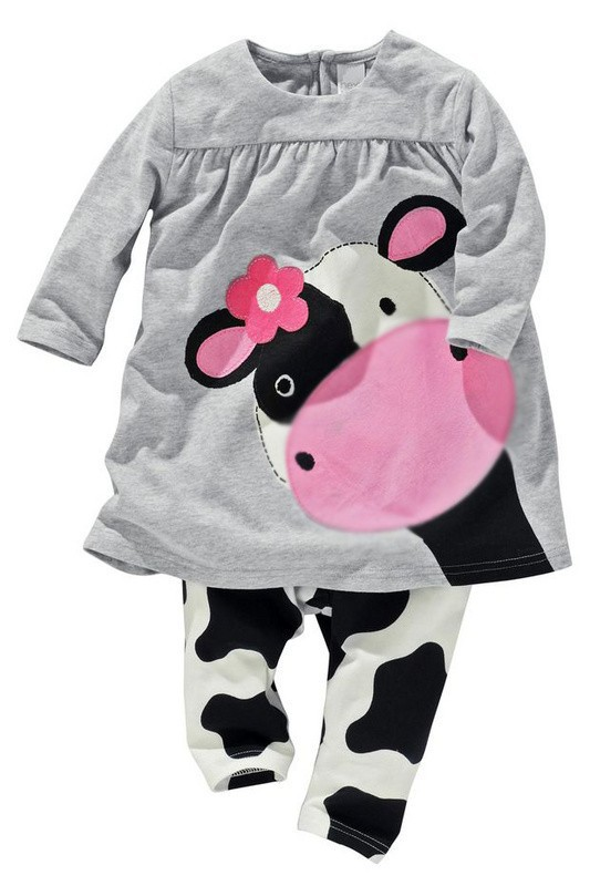 Free shipping,2014 New Arrived spring New lovely long sleeve outer clothing top +trousers sets print cow cute girl clothes(China (Mainland))