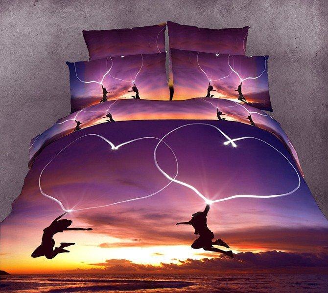 Blue Purple love romantic bedding set queen size comforter duvet cover bed linen sheet quilt bedclothes bedspread bedsheet(China (Mainland))