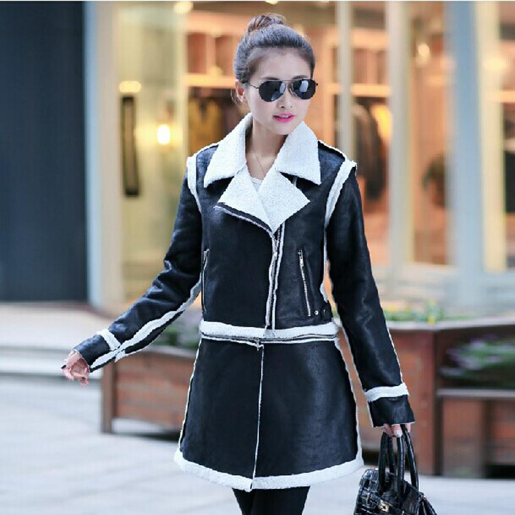 Vintage Woman Ladies Suede Biker Jackets Winter Warm Long Designer Shearling Coats Leather Padded Overcoat Parkas SizeS-XXL(China (Mainland))