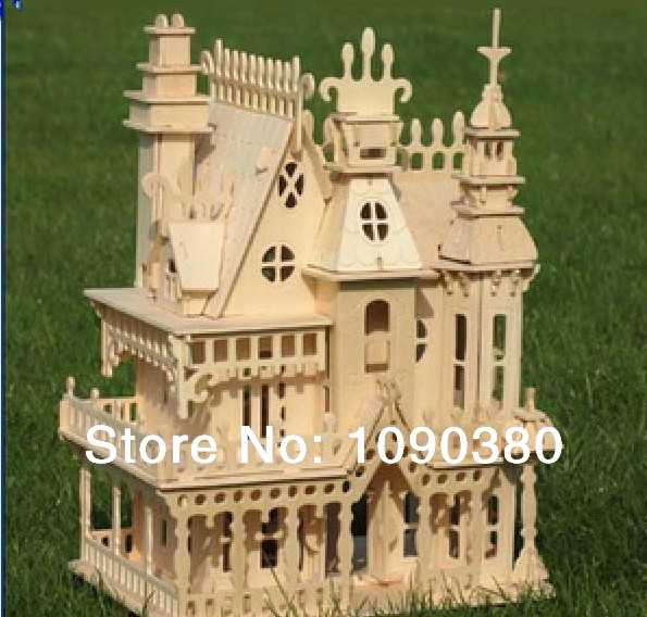 Educational Toys 3D Wooden Puzzle For Children & Adults Incredible Wooden Villa Model Puzzles Parent-Child Interactive Toys(China (Mainland))