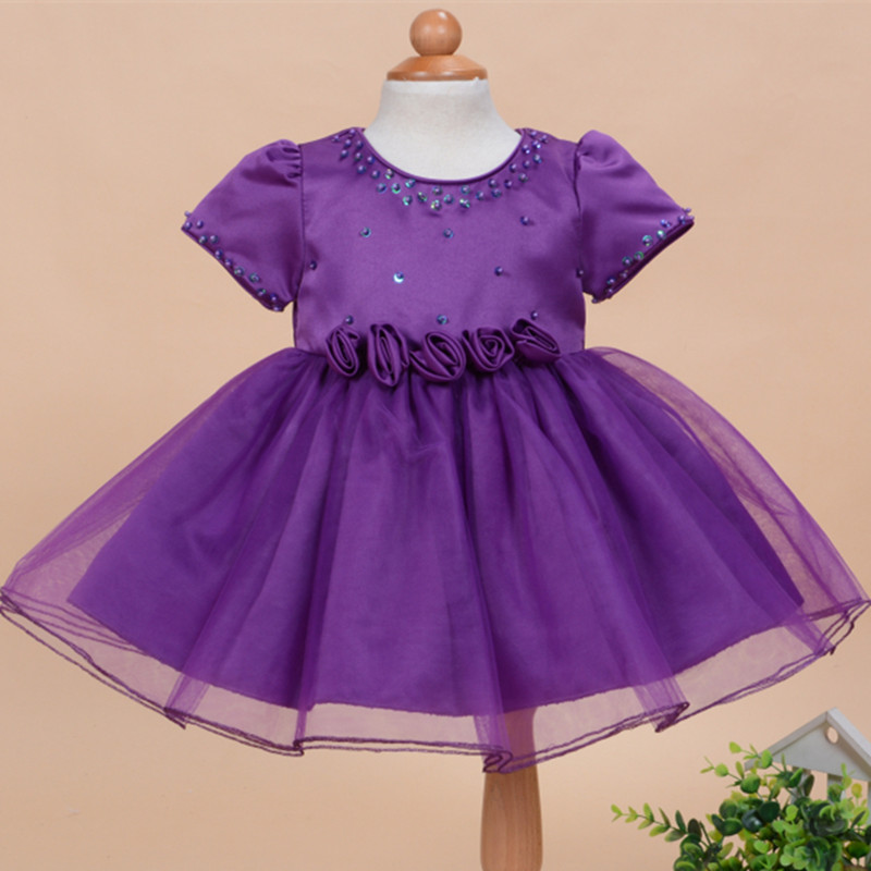2016 formal elegant 1 year old birthday dress for baby girl plain purple flowers  party vestido baby toddler clothing 154718<br><br>Aliexpress