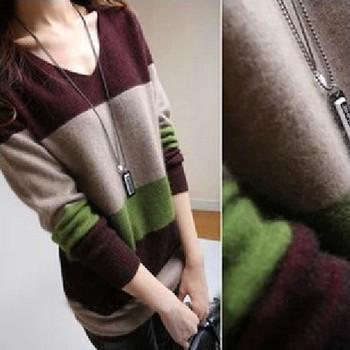 Кашемир свитер женщины длинная пуловеры свитер ткань в полоску свитер базовые большой ...
