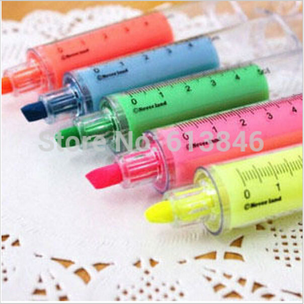 2pcs/lot Cute Fluorescent Syringe Pens Highlighters Marker Pen Korean Stationery Schllo Supplies Free shipping(China (Mainland))