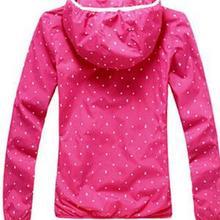 Hot Sale Women Active Style New Coat Slim Polka Dot Full Sleeves Zipper Autumn Coat Fluorescent