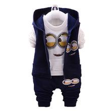 Minion Kids Sets 2015 Autumn Despicable Me Clothes Loose Zipper Sweatshirt 3Pcs Set Full Cotton Casual Printed Boys Hoodies Set