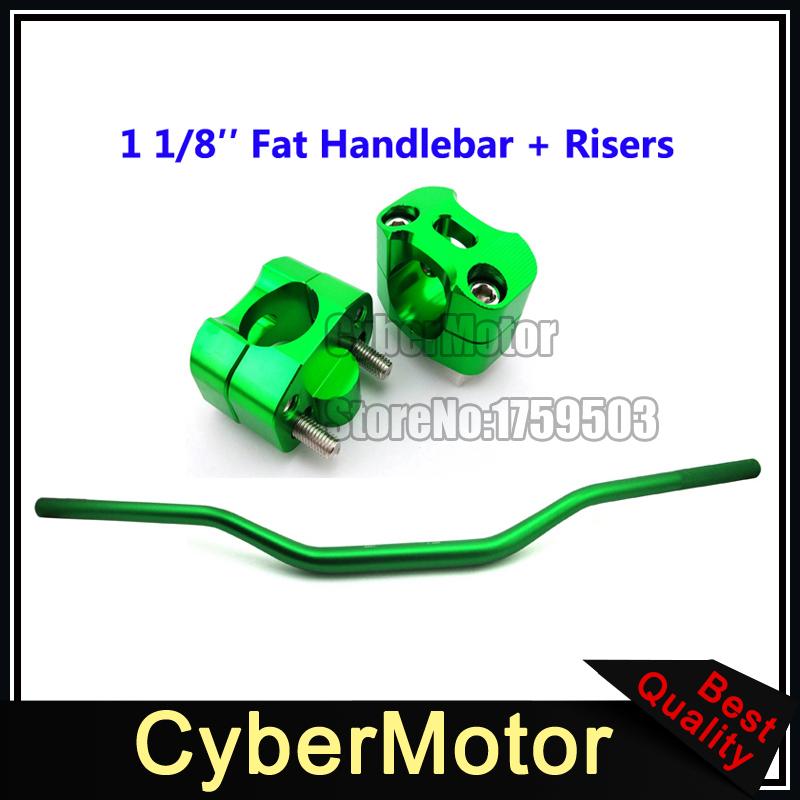 Green Aluminum 28mm 1 1/8'' Fat Handlebar Handle Bar Taper Risers Mount Clamp Pit Dirt Motor Bike Motorcycle Motocross ATV Quad(China (Mainland))