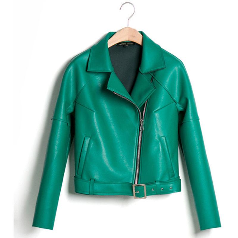 Green leather jacket women